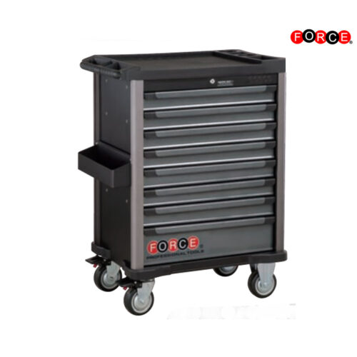Black 8-drawer trolley with 208pc tools S&M (EVA)