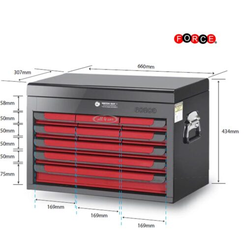 Glory red & black 9-drawer top chest