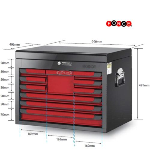 Glory red & black 10-drawer top chest