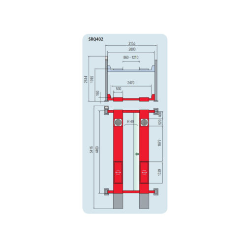 4000kg 4 postlift width 2800 Runway 4416 x 3155 mm